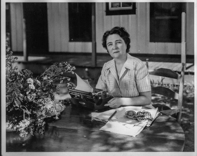Author Marjorie Kinnan Rawlings sits at her typewriter at her Cross Creek home in north central Florida in the early 1940s.